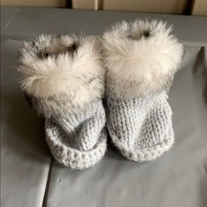 Gray Crocheted Boots with Fur Size 0-6 Months